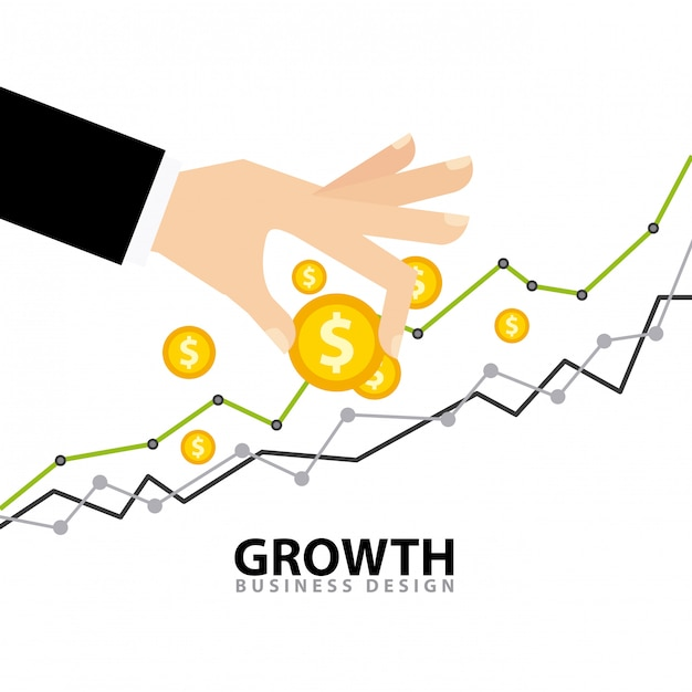 Business growth funds flat icons Premium Vector