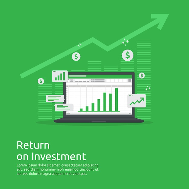 Business growth graph and arrows chart increase to success. return on investment roi or increase profit . Premium Vector
