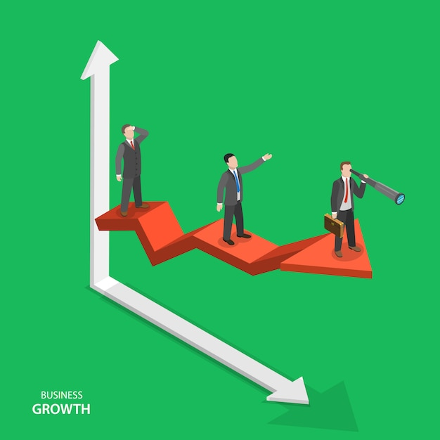 Business growth isometric vector concept. Premium Vector