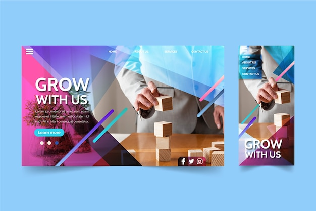 Business growth landing page Premium Vector