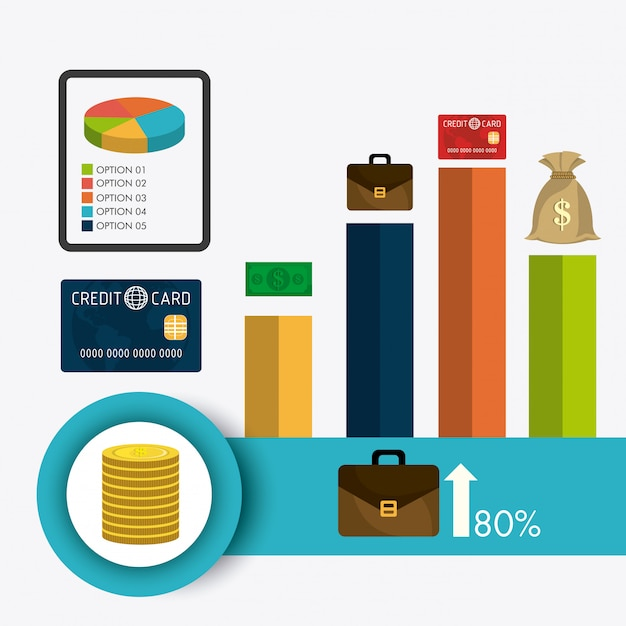 Business growth and money savings statistics Free Vector