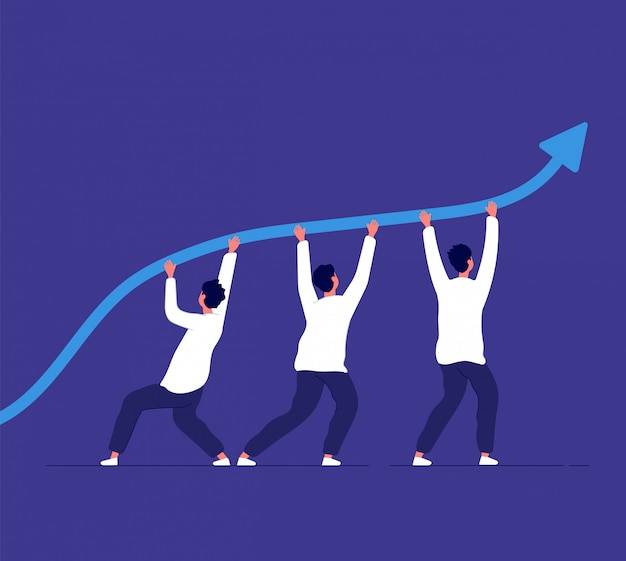 Business growth. people pointing up trend line. team challenge and corporate achievement. winning strategy vector concept Premium Vector