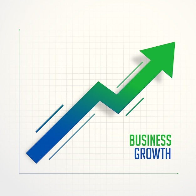 Business growth steps chart arrow concept Free Vector
