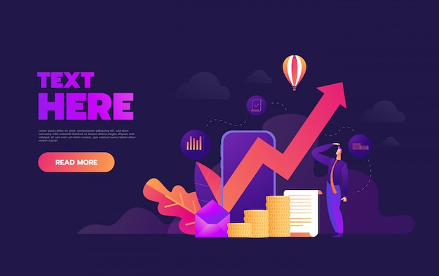 Business growthing graph on smartphone application,, Premium Vector