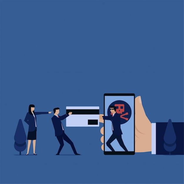 Business hacker snatch credit card from phone metaphor of hacking. Premium Vector