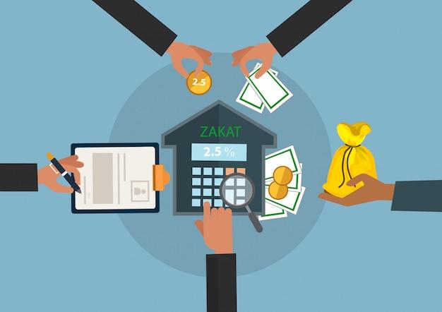 Premium Vector Business Hand Donation Zakat Concept Moslem Islam Count Counting Money