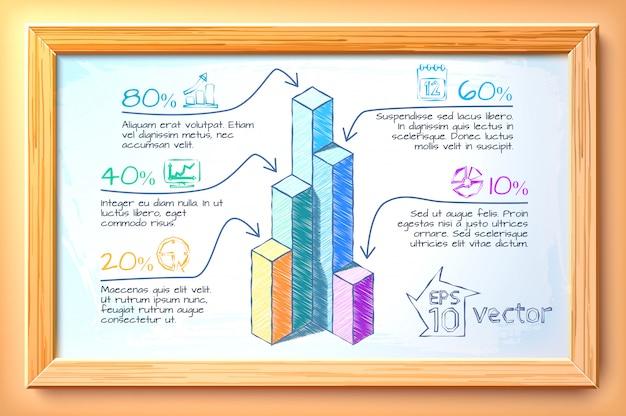 ビジネス手描きのインフォグラフィックカラフルなグラフ5つのオプションテキストと木製フレームの図のアイコン Premiumベクター
