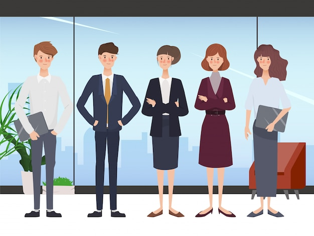 Business hand drawn people teamwork office character. workspace and interior design. Premium Vector