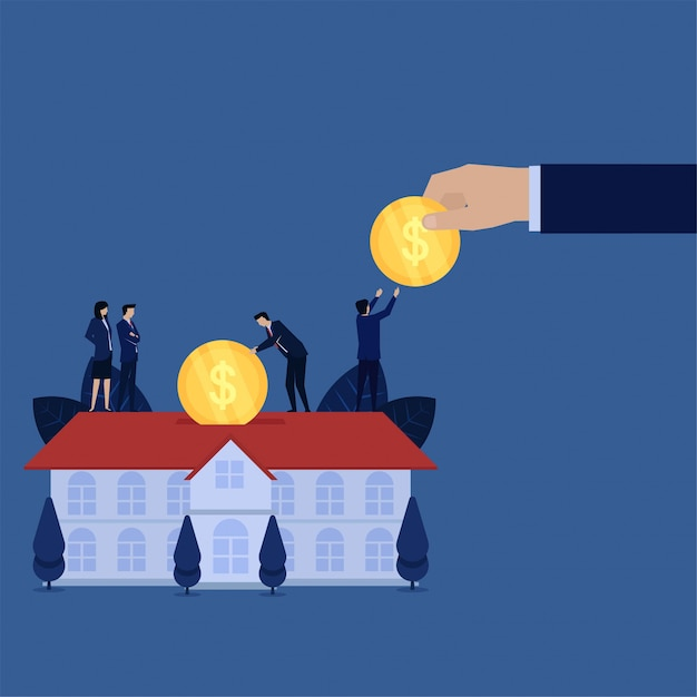 Business hand give coin and put in mortgage home metaphor of property investment. Premium Vector