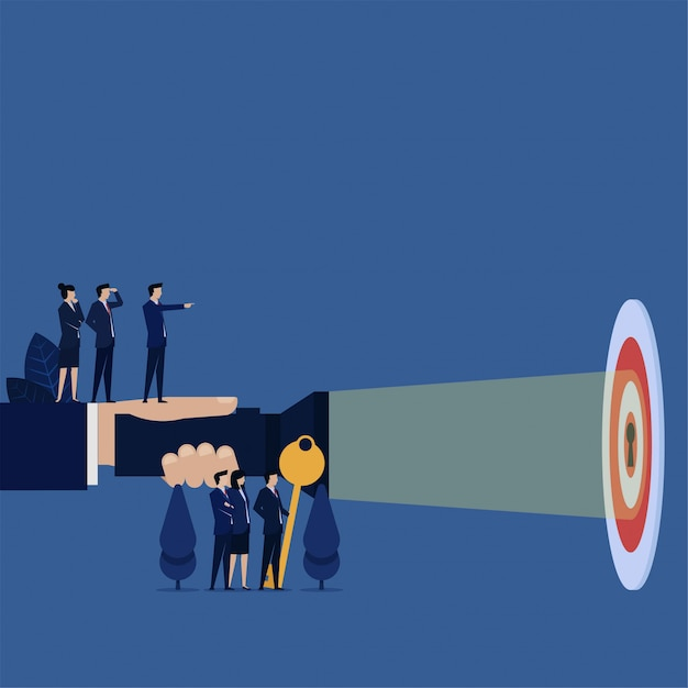 Business hand hold flashlight for keyhole on target metaphor of clear target. Premium Vector