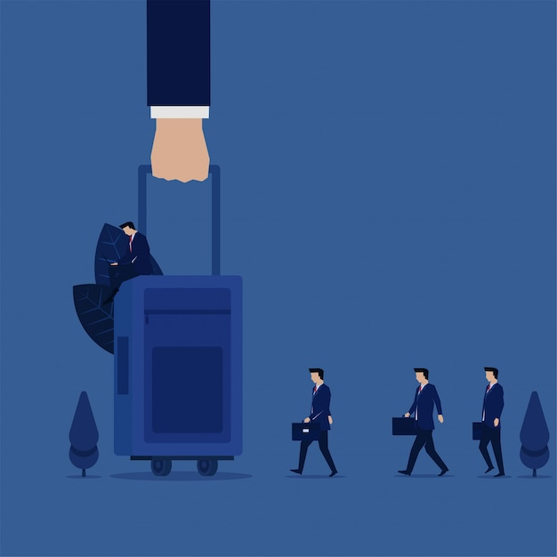 Business hand hold luggage ready to travel for business trip with team with suitcase. Premium Vector