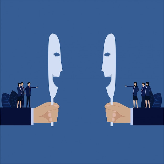Business hand hold smiling mask while behind team blame each other metaphor of hypocrite. Premium Vector