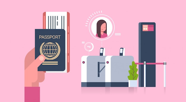 Business hand holding passport and tickets to plane over check in scanner at airport woman on registration for departure concept Premium Vector