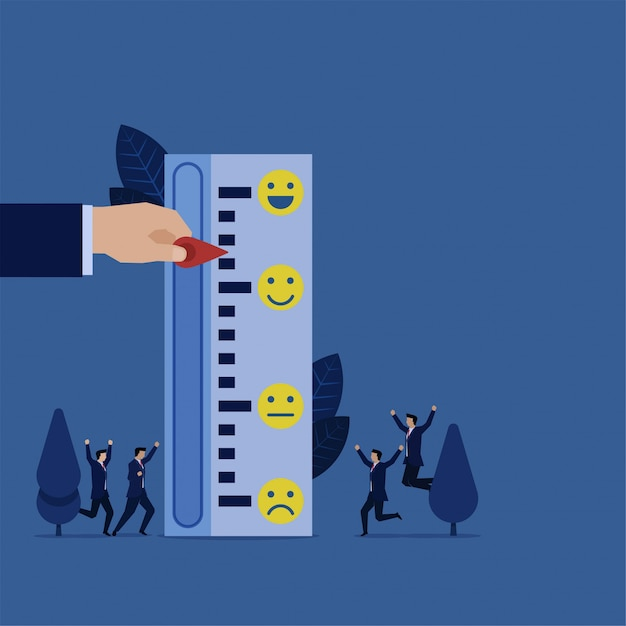 Business hand pull indicator to smile meter rating review. Premium Vector