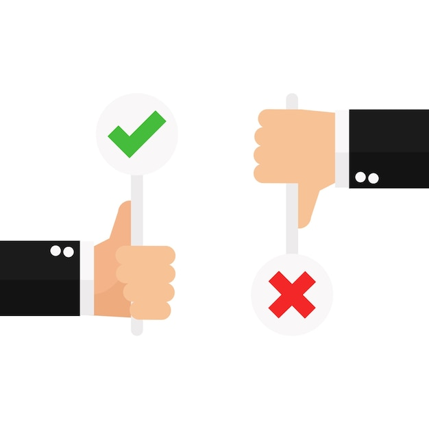 Business hand thumb up with true and false sign Premium Vector