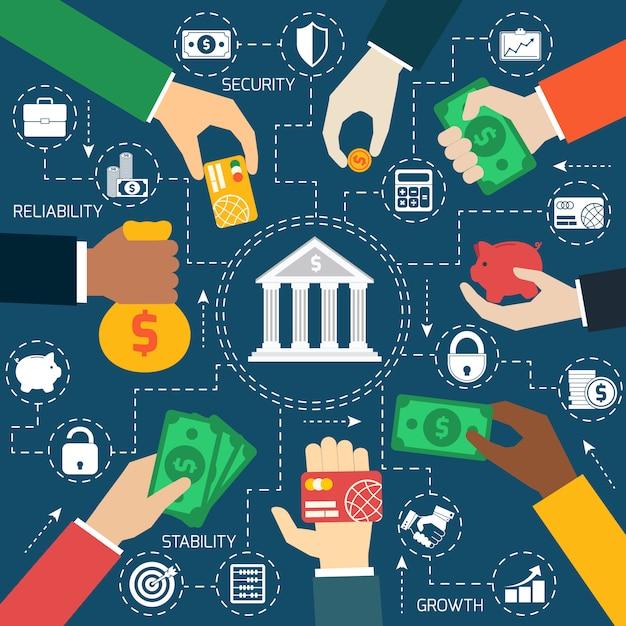 Business hands financial flowchart Free Vector