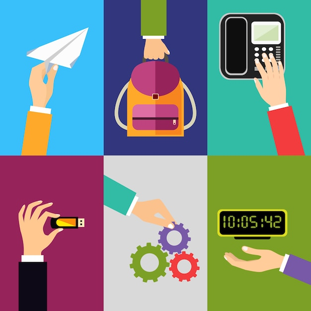 Business hands gestures design elements of holding paper plane backpack touching phone isolated vector illustration Free Vector