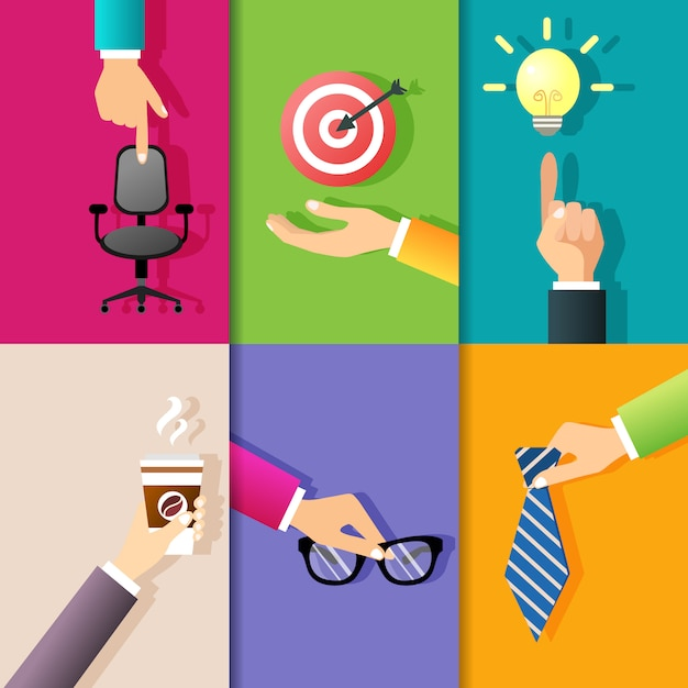 Business hands gestures design elements of pointing on chair darts board lightbulb isolated vector illustration Premium Vector