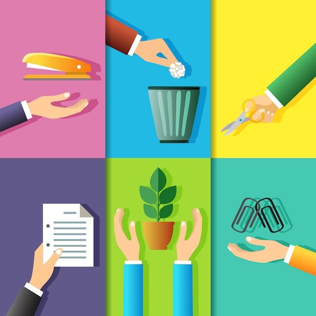 Business hands gestures illustration set Free Vector