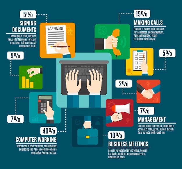 Business hands infographics Free Vector