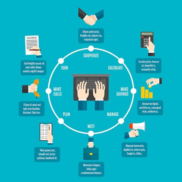 ビジネス手インフォグラフィック Premiumベクター