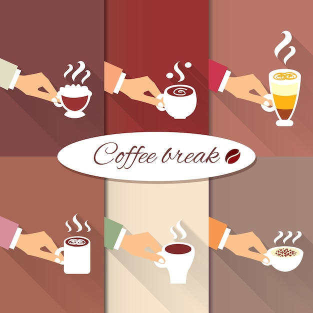 Business hands offering hot coffee drinks Free Vector
