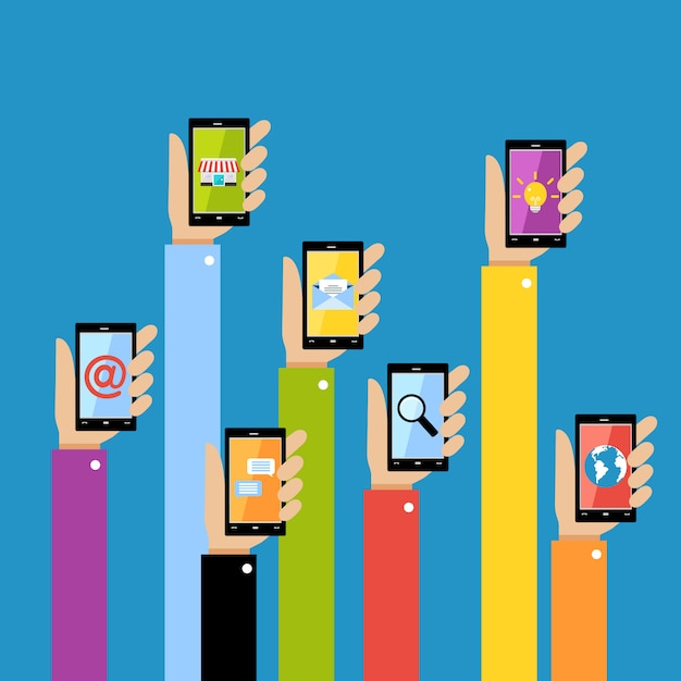 Business hands with gadgets Premium Vector