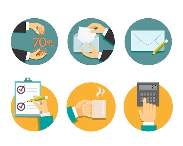 Mani d'affari con oggetti per ufficio illustrazione vettoriale su bianco Vettore gratuito