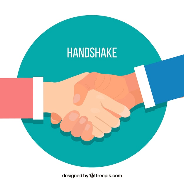 Business handshake background in flat style Free Vector