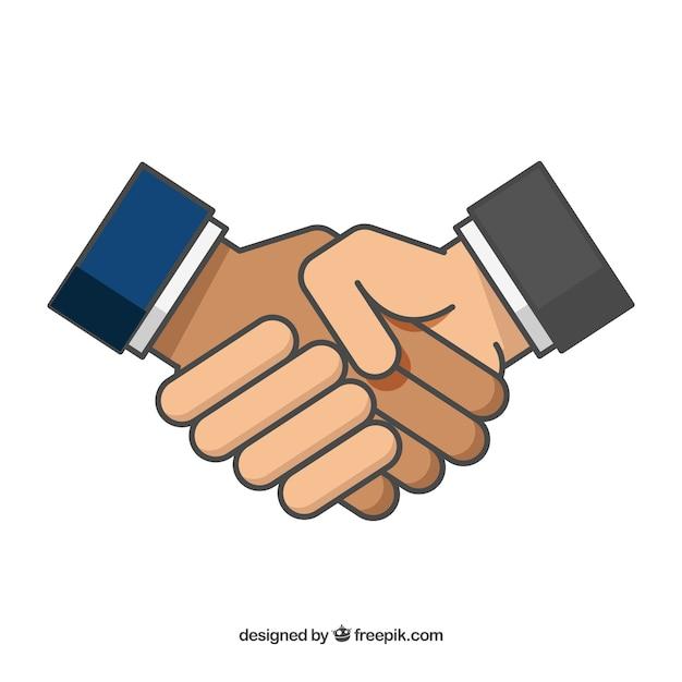 Priorità bassa della stretta di mano di affari in stile piano Vettore gratuito
