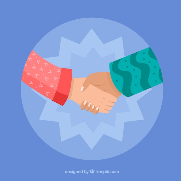 Business handshake background in flat\ style