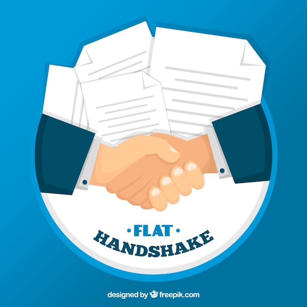Business handshake background with contract in flat style Premium Vector