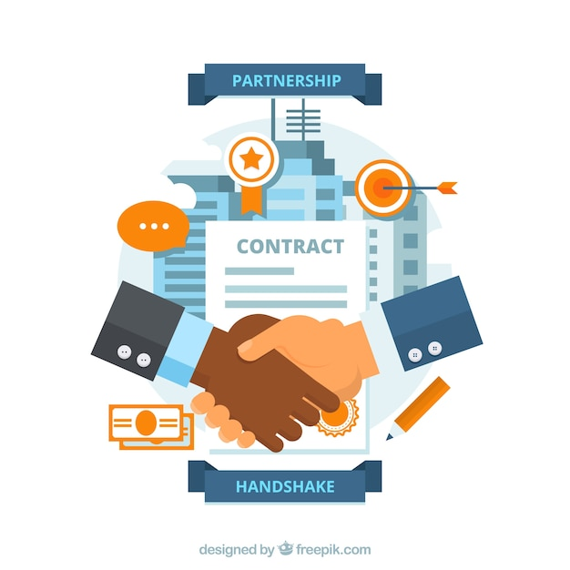 Business handshake background with contract in\ flat style