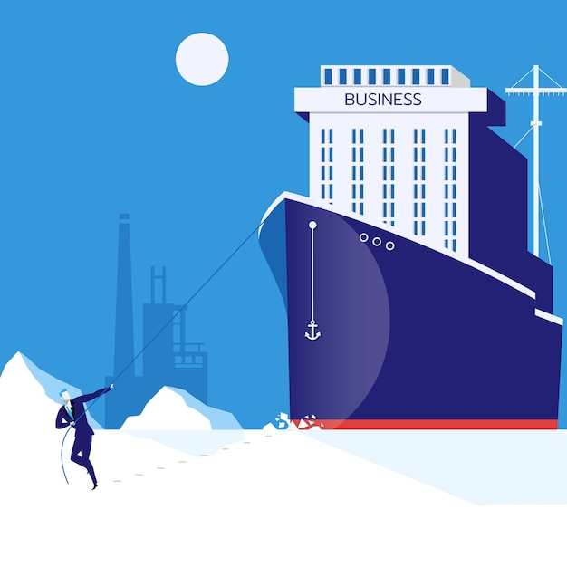 Business hardship, leadership concept vector illustration in flat style Premium Vector