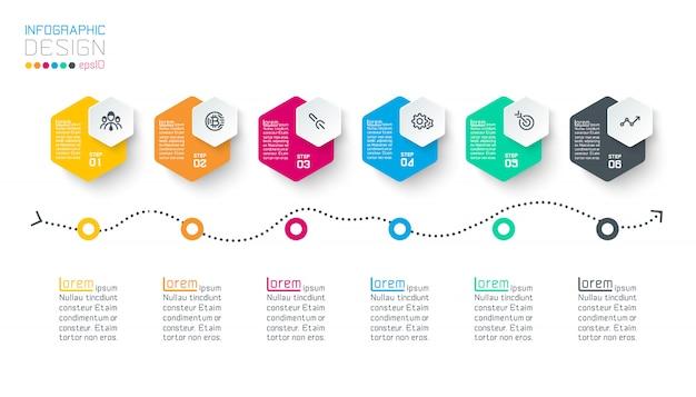 Business hexagon labels shape infographic groups bar. Premium Vector