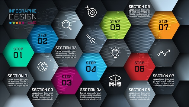 Business hexagon net shape infographic template Premium Vector