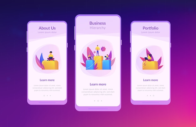 Business hierarchy app interface template Premium Vector