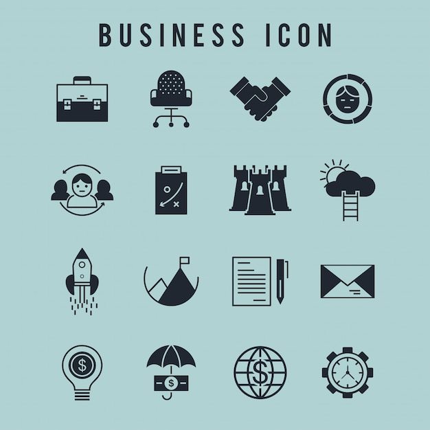 Business icon set Free Vector
