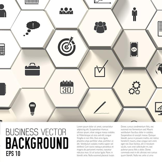 Icone di affari su sfondo astratto con campo di testo piatto Vettore gratuito