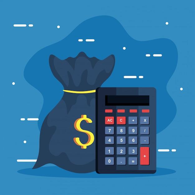 Бизнес-иконки, математический калькулятор с денежным мешком Premium векторы