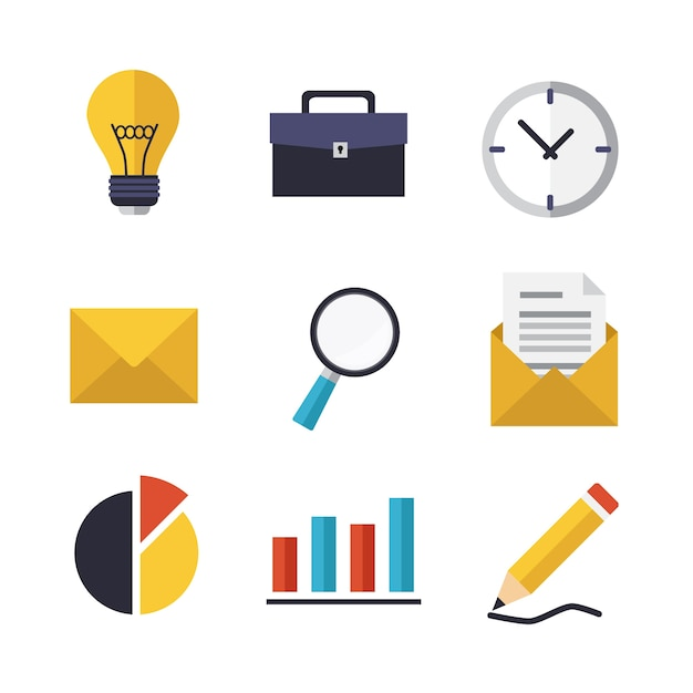Business icons design Free Vector