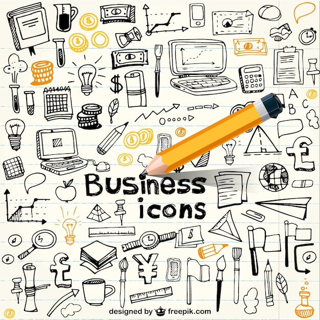 Business icons in doodle style Free Vector