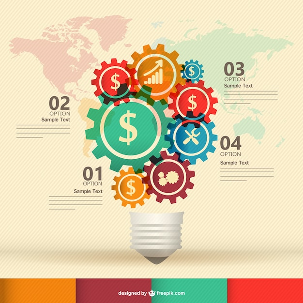 Business icons in gears creating a light bulb Free Vector