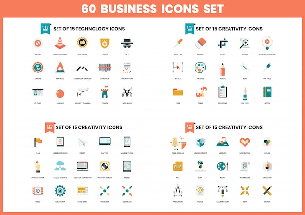 Business icons set for business Premium Vector