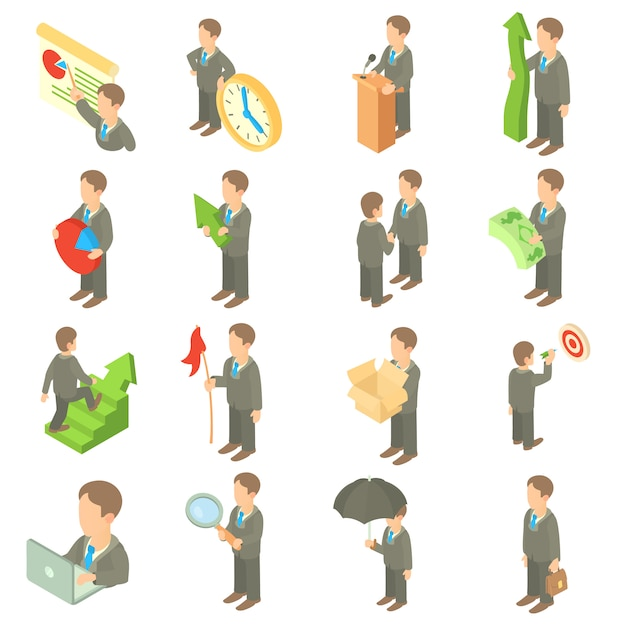 Business icons set in cartoon style Premium Vector