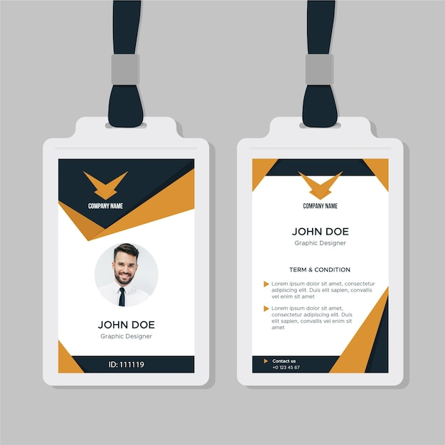 Business id card template with shapes Free Vector