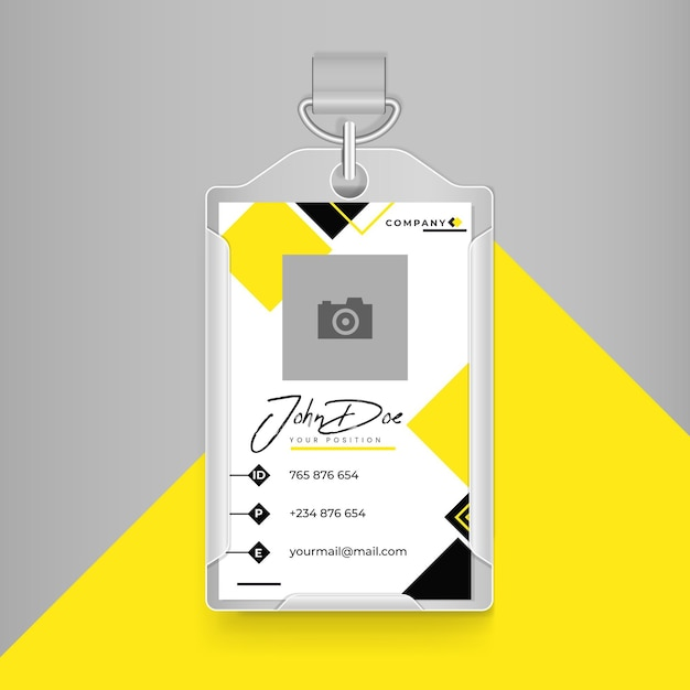 Business id card in yellow and black with white colours Free Vector