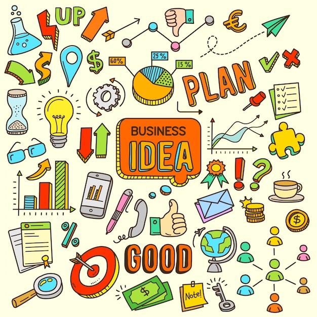 Business idea cartoon color doodle illustration Premium Vector