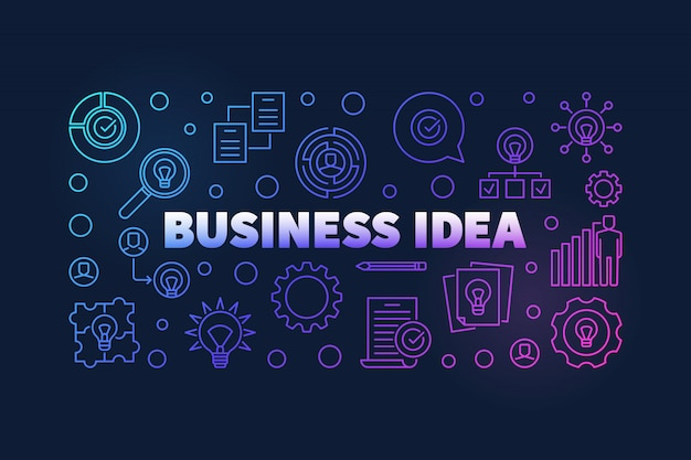 Business idea colorful illustration or banner Premium Vector