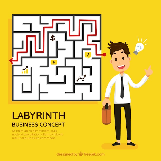 Business and idea concept with labyrinth Free Vector